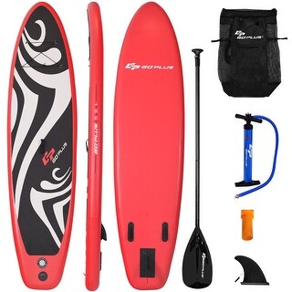 Goplus 10' Inflatable Stand up Paddle Board Surfboard SUP W/ Bag Adjustable Fin Paddle - as pic