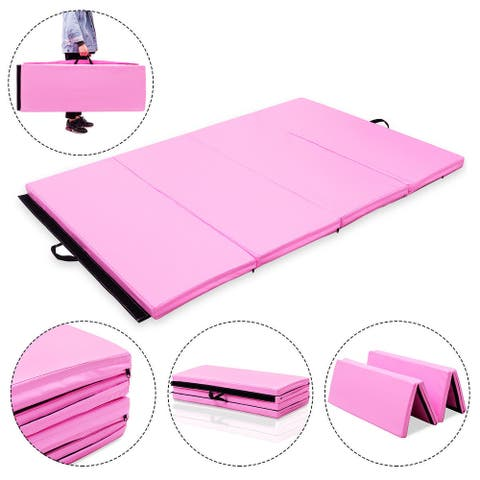 Costway 4'x6'x2'' Gymnastics Mat PU Thick Folding Panel Gym Pink