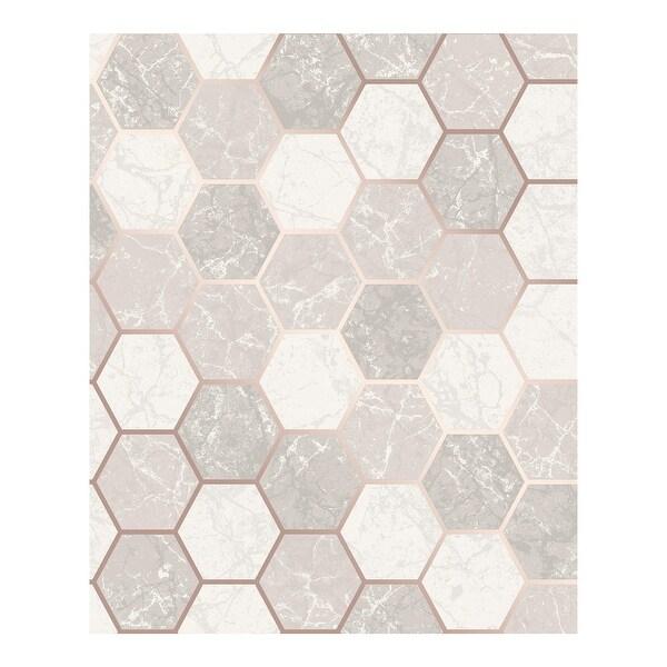 Margaret Rose Gold Marble Hexagon Wallpaper - 20.5 x 396 x 0.025. Opens flyout.