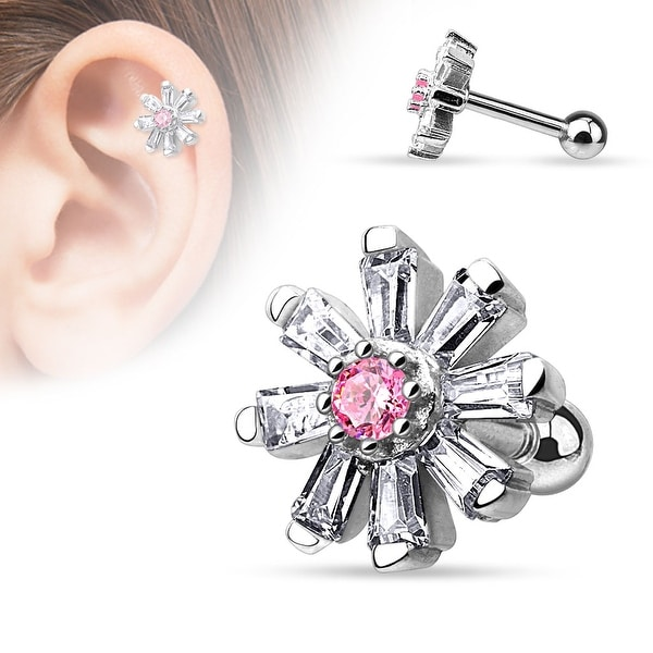 {Pink} Princess Cut CZ Petal Flower with Round CZ Center Steel Cartilage/Tragus Barbell (Sold Ind.)