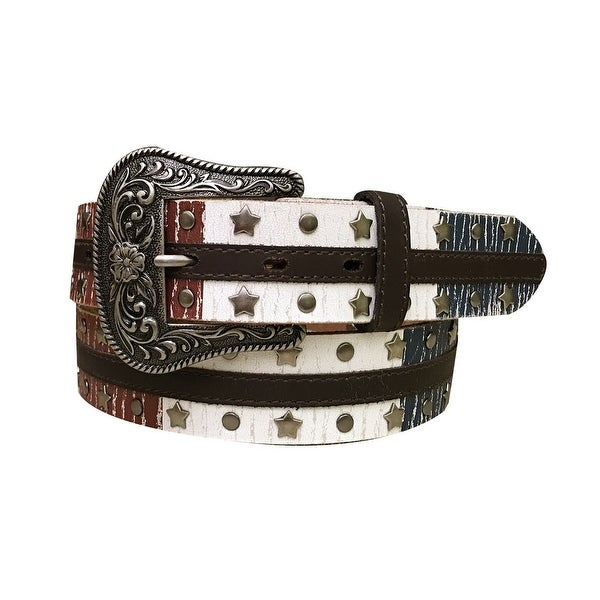 Dan Post Western Belt Womens Crackle Overlay White Brown