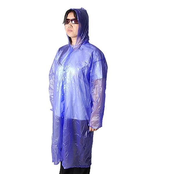 Portable Purple Plastic Hooded Sleeved Poncho Rain Gear
