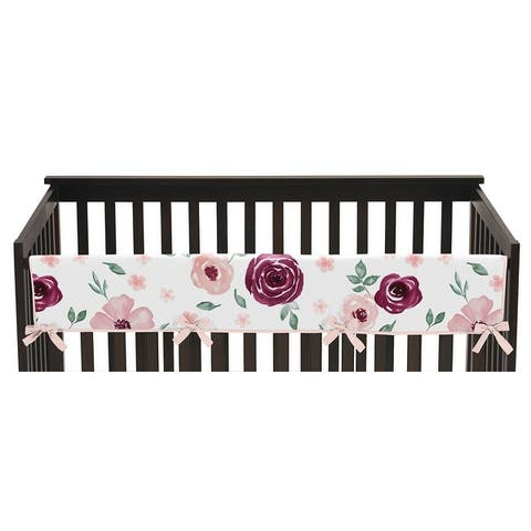 Burgundy and Pink Watercolor Floral Girl Long Crib Rail Guard Cover - Blush Maroon Wine Rose Green Shabby Chic Flower Farmhouse