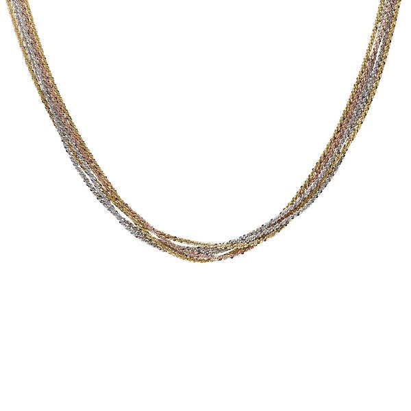 Multi-Strand Rope Necklace in 18K Two-Tone Gold-Plated Sterling Silver - three-tone