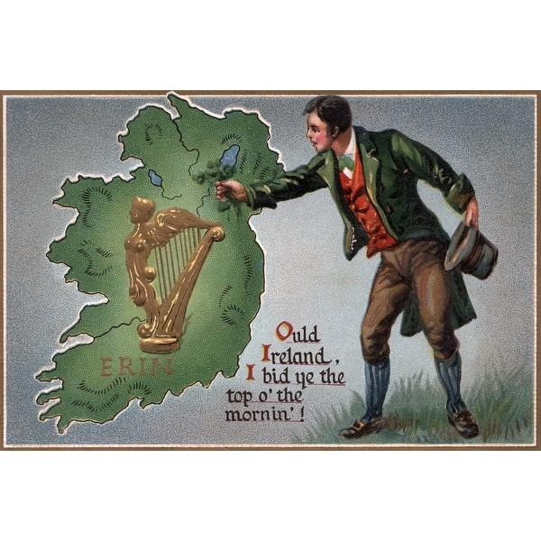 St Patricks Greeting Shamrocks Vintage Holiday (100% Cotton Towel Absorbent)