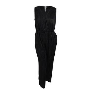 NY Collections Women's Plus Size Surplice Wide-Leg Jumpsuit - Onyx Black