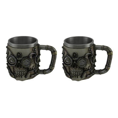 Set of 2 Metallic Silver Steampunk Skull Mugs with Steel Liners - 4.25 X 5.75 X 4.25 inches