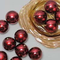 "12ct Burgundy Red Shatterproof Shiny Christmas Ball Ornaments 4"" (100mm)"