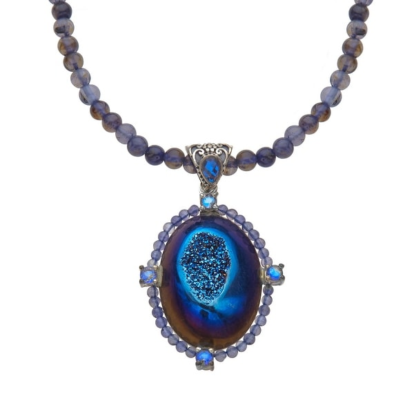 Sajen Steely Blue Druzy, Royal Quartz & Iolite Necklace in Sterling Silver