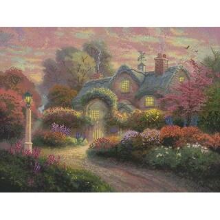 "Thomas Kinkade Rosebud Cottage Counted Cross Stitch Kit-16""X12"" 16 Count"