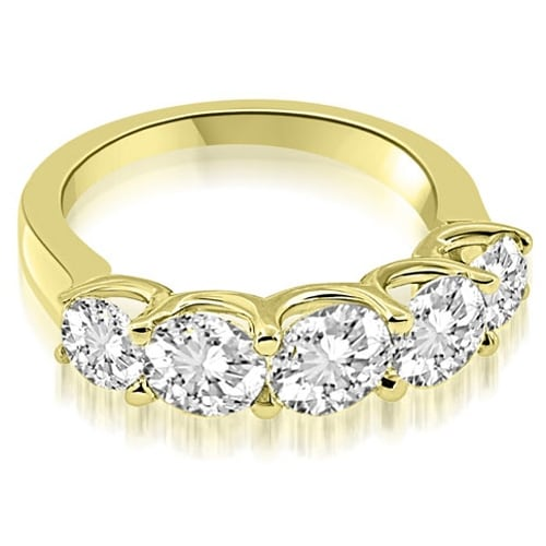 2.00 cttw. 14K Yellow Gold Classic U-Prong Set Round Cut Diamond Wedding Band