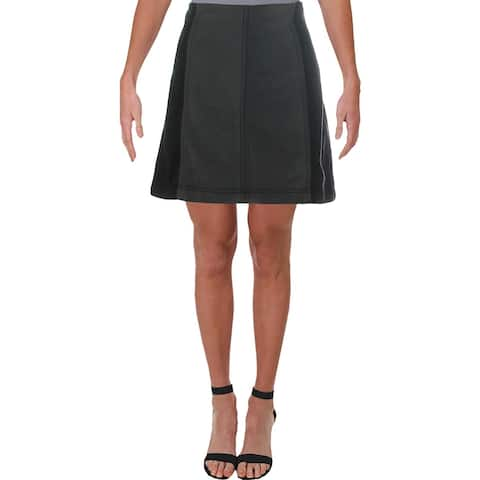 Free People Womens Denim Skirt Denim Colorblock