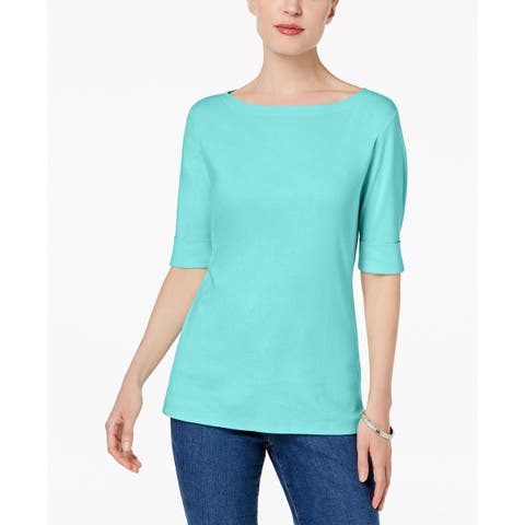 Karen Scott Women's Cotton Elbow-Sleeve Top Aqua Oasis Size Small