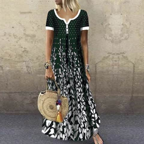 Printed V-Neck Short Sleeve Maxi Dress