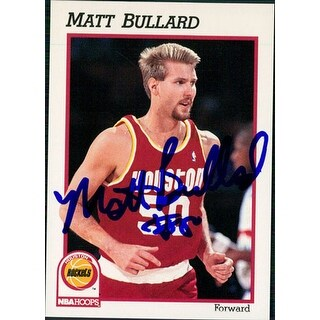 Signed Bullard Matt Houston Rockets 1991 NBA Hoops Basketball Card autographed