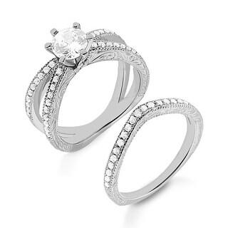 0.75 ct.tw Bridal Sets, Round Stone Engagement Ring & Wedding Band - White H-I