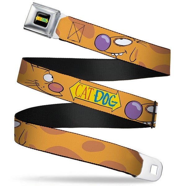 Cat Dog Logo Full Color Black Yellow Red Blue Catdog Stretch Catdog Logo Seatbelt Belt