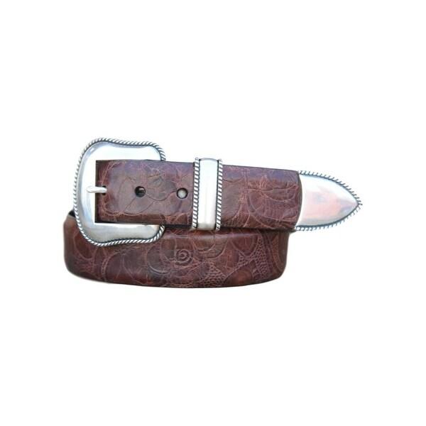 Lejon Western Belt Mens Dawson Leather Print Cognac - 36