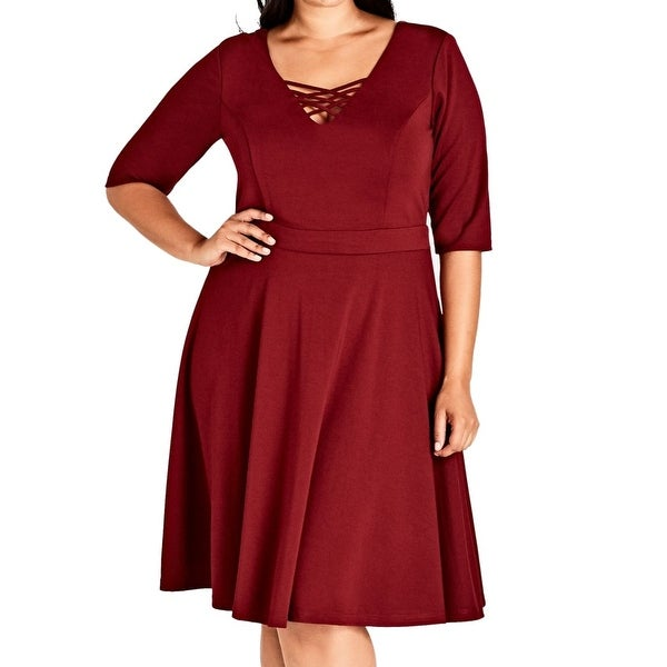 City Chic Red Women's Size 22W Plus Strappy Neck A-Line Dress