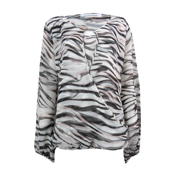 648d8f72 Shop Calvin Klein Women's Zebra Print Crossover Blouse - Free ...