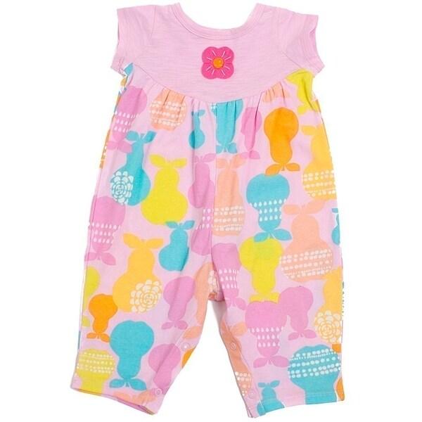 Baby Lulu Girls Pink Pastel Pear Cotton Short Sleeve Romper