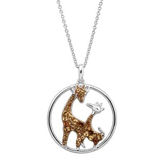 Crystaluxe Giraffe Duo Pendant with Swarovski elements Crystals in Rhodium-Plated Sterling Silver