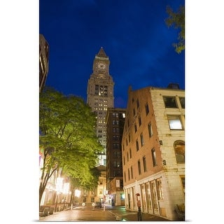 Poster Print entitled Customs House Clock Tower at night