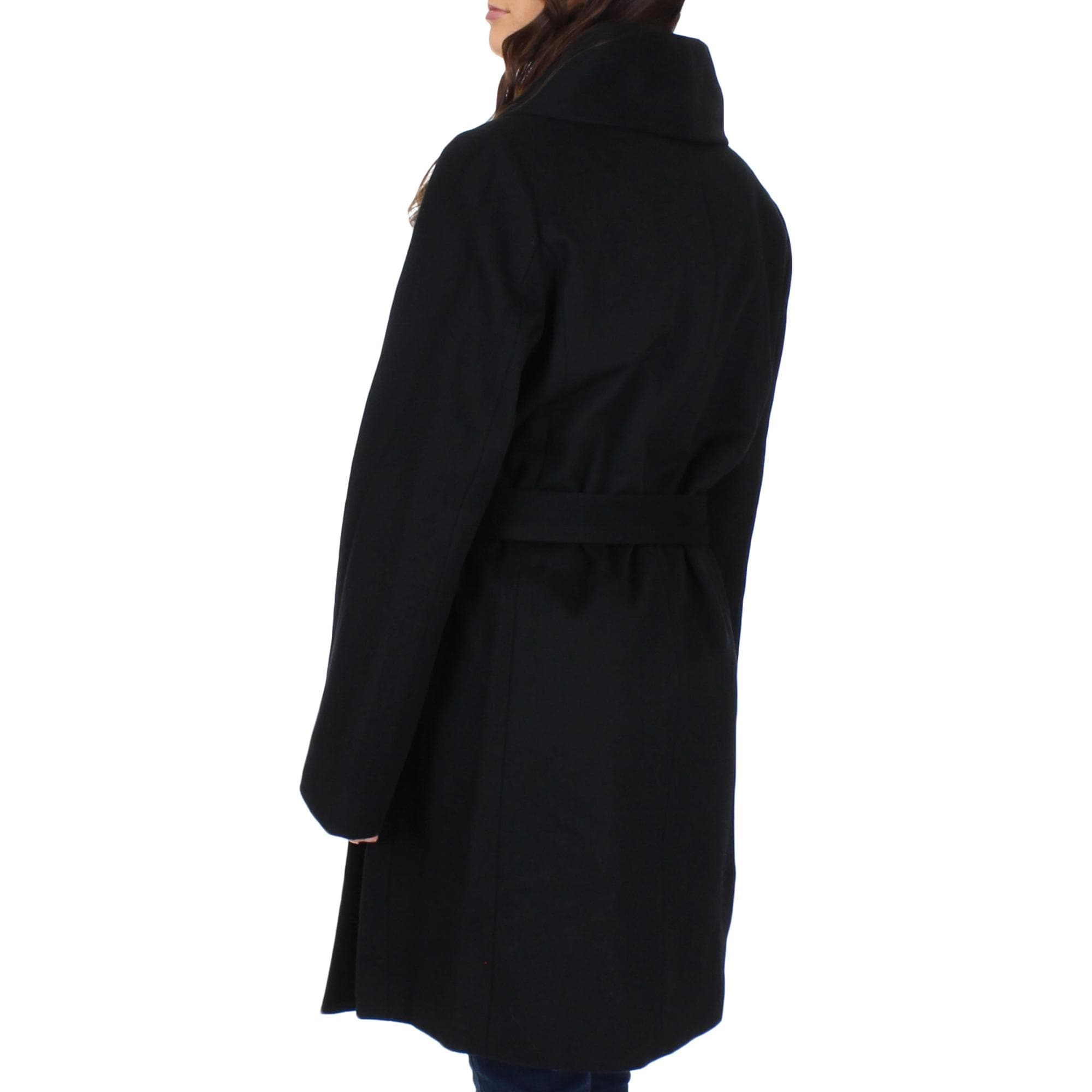 Happy Rainy Days Womens Winter Wool-Feel Long Trench Coat
