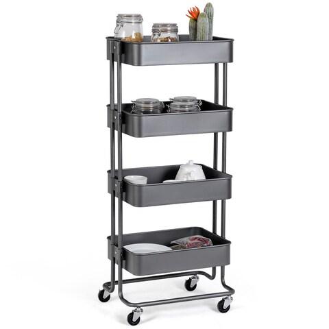 Gymax 4 Tier Metal Rolling Utility Cart Storage Mobile Organization