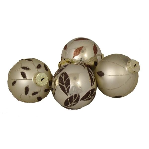 "4 Champagne Leaf Glittered Shatterproof Christmas Ball Ornaments 3.25"" (80mm)"