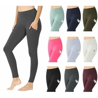 NioBe Clothing Womens High Waist Solid Cotton Yoga Pants Work Out Leggings w/Pockets