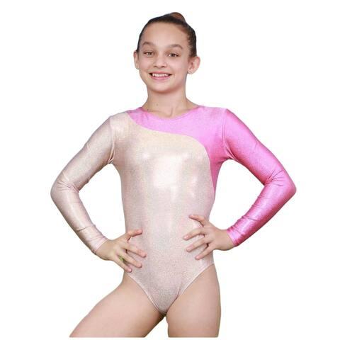 VEVA by Very Vary Women Pearl Pink Mercury Mystique Gymnastics Leotard M