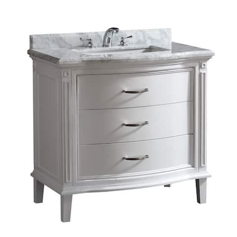 OVE Decors Rachel 36 in. White Single Sink Vanity with Carrara Marble Top