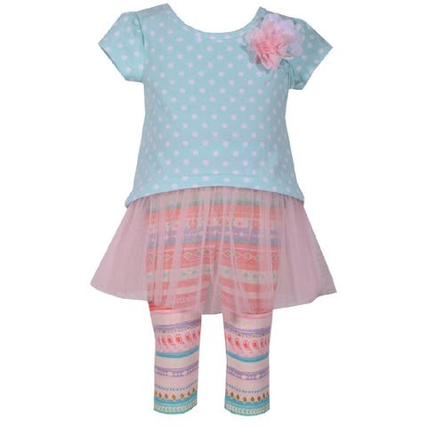 Bonnie Jean Mint Polka Dot Mesh Tulle Capri Outfit Baby Girls
