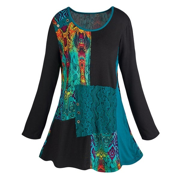 Women's Abstract Art Long Sleeve Tunic Top