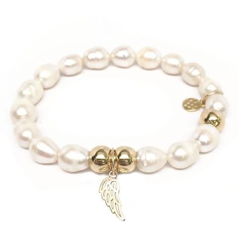Julieta Jewelry Angel Wing Charm Pearl Bracelet