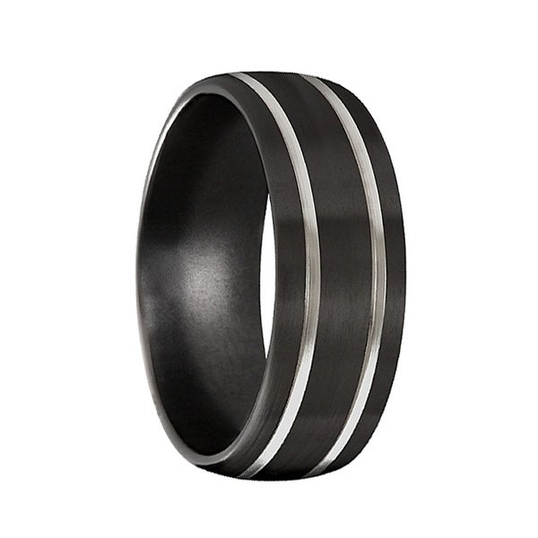 96f3620f042 Shop Men s Black Titanium Wedding Band Brushed Satin Finish by Crown Ring-  8mm - Free Shipping Today - Overstock - 16936016