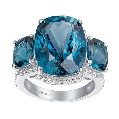 3-Stone Cushion-Cut Gemstones Engagement Ring, Sterling Silver