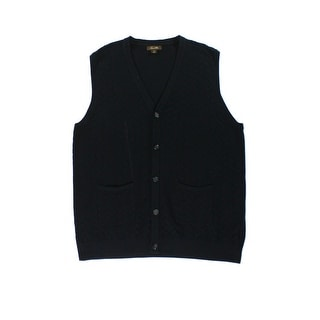 Tasso Elba NEW Black Mens Size Large L Button Down Chevron Sweater Vest