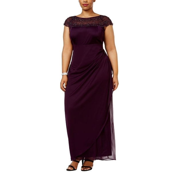 58af3f3dc7d74 Shop MSK Purple Women Size 20W Plus Embellished Ruched Cap-Sleeve Gown -  Free Shipping Today - Overstock - 27149204