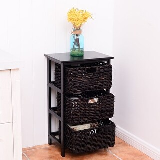 Costway Wooden End Accent Storage Table Home Office Furniture Decor W/3 Storage Baskets