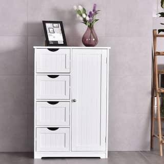 costway wooden 4 drawer bathroom cabinet storage cupboard 2 shelves free standing white - Bathroom Cabinets Storage
