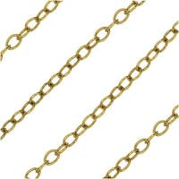 Nunn Design Bulk Chain, Delicate Cable Links 2.5x2mm, By the Foot, Antiqued Gold