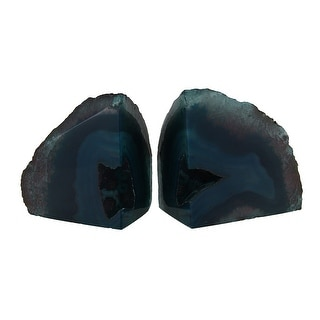 Small Polished Green Brazilian Agate Geode Bookends <4 Pounds