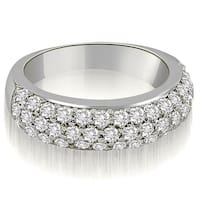 Ladies 1.30 cttw. 14K White Gold Three Row Round Cut Diamond Wedding Band HI, SI1-2