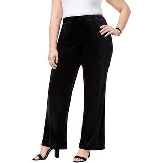 NY Collection Womens Plus Wide Leg Pants Velvet Night Out