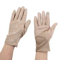 Women Ladies Anti-slip Full Finger Mittens Summer Outdoor Sun Gloves Khaki Pair