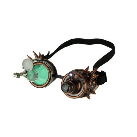 Retro LED Light Up Steampunk Goggles with Green/Smoke Lens and Ocular Loupes - 2.5 X 6.75 X 3.75 inches