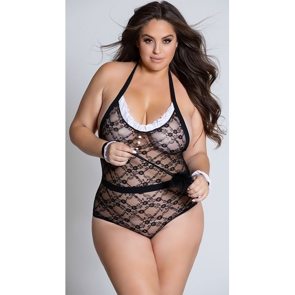 ce7875d76d4 Shop Plus Size Do Not Disturb French Maid Lingerie Costume - Black - Queen  Size - Free Shipping On Orders Over $45 - Overstock - 20346549