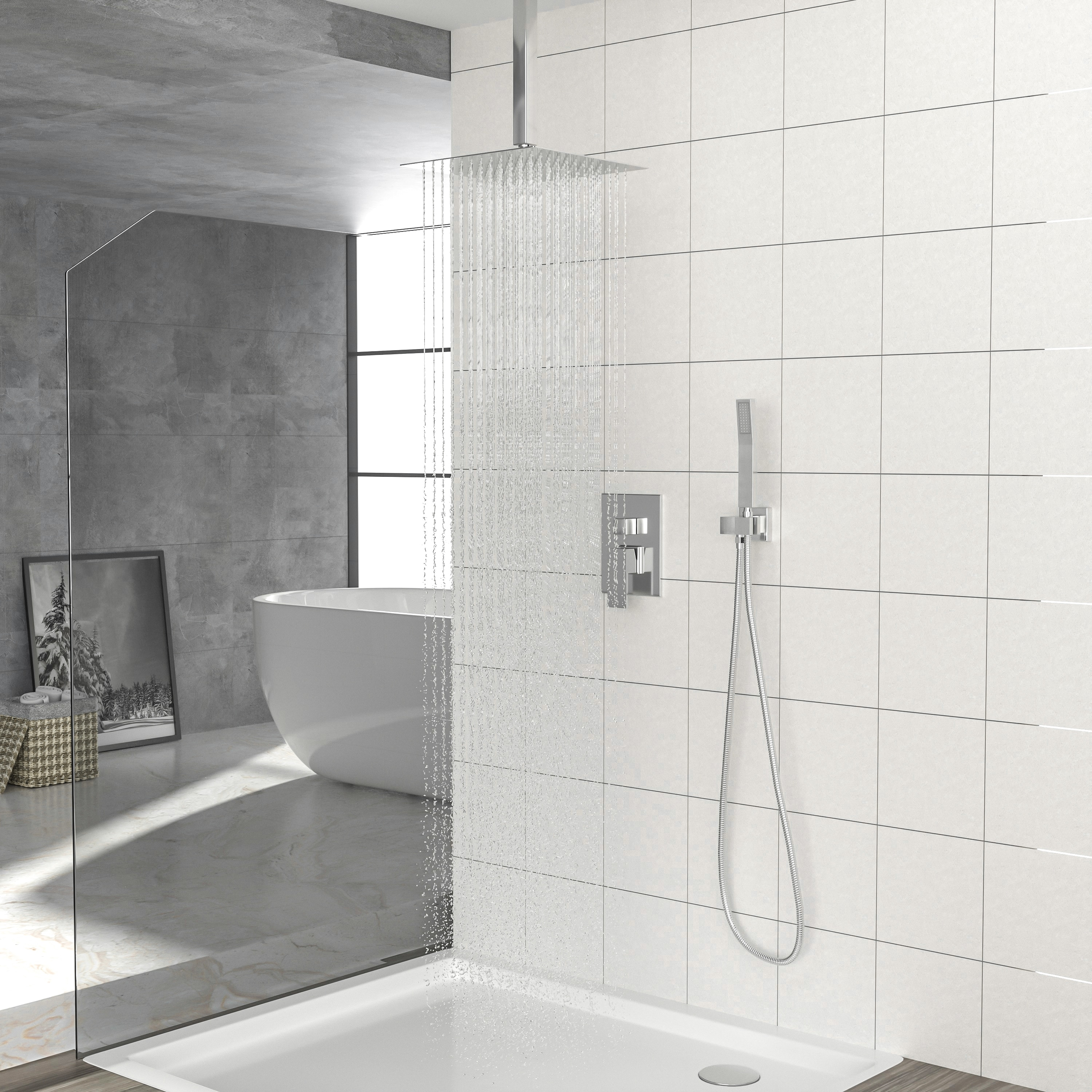 Ceiling Mounted Rain Mixer Shower Combo Set Shower Head System ...